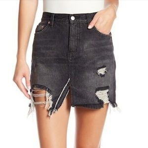NWOT Free People Distressed Slit Denim Skirt